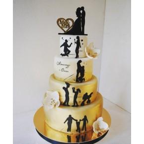 №468 Свадебный торт 4 яруса