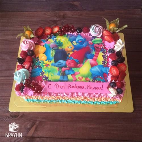 №370 Торт с фотопечатью Тролли